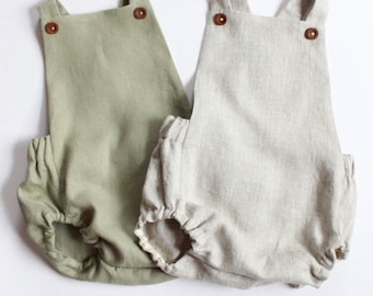 59a576cfa3d2 Linen Baby Romper - Linen Toddler Romper - Vintage Baby Romper - Baby Boy  Coming Home Outfit - Newborn Photography Outfit Linen Baby Clothes