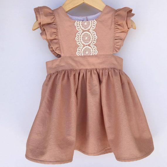 00ff76e52719 Girls Linen Pinafore Dress Baby Linen Dress Toddler Linen   Etsy