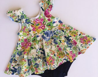 Pink Blue Watercolor Floral Peplum Top and Shorties - Peplum Top for Girls - Baby Outfits Girl - Baby Outfit Summer - Outfits for Baby Girl