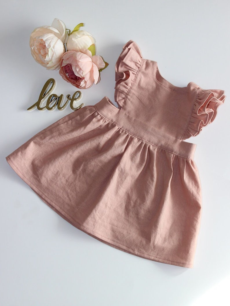 Baby Linen Dress Toddler Pinafore Dress Pinafore Dress Baby Pinafore Dress Toddler Toddler Linen Dress Linen Blend Pinafore Dress
