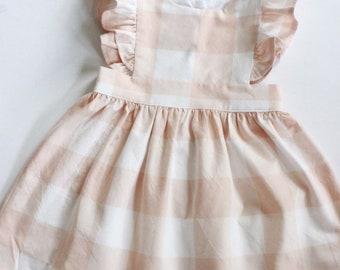 Blush Gingham Pinafore Dress -  Pinafore Dress Baby - Pinafore Dress Toddler - Girls Pinafore Dress