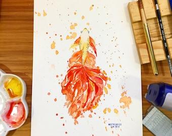 Gold Betta Watercolor No. 011800174