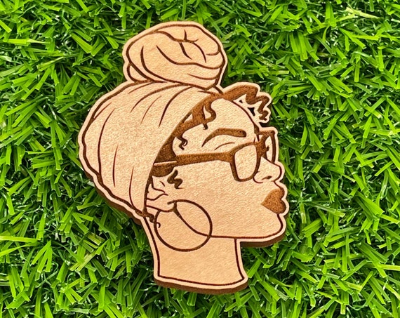 Black Woman with Headwrap Pinback button| Wooden Pin Back Buttons
