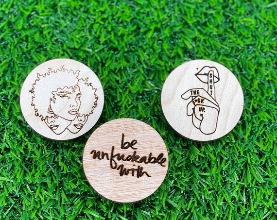 Shut the F**** up Pinback Button | 3 face woman Pin Back Button | Girl Power Pin Back Button | Wood Engraved pinback buttons | Feminist