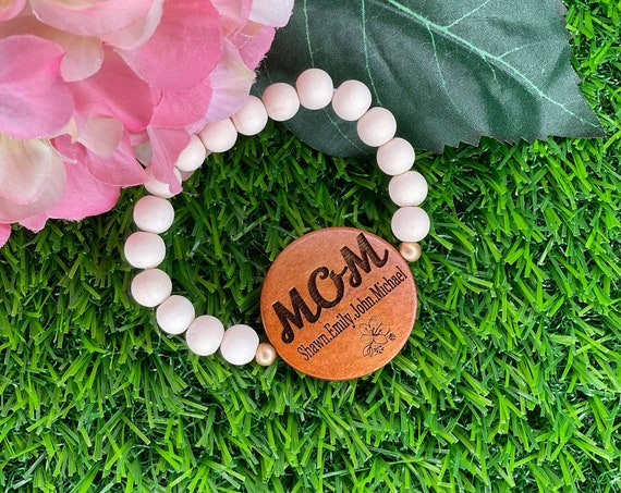Personalized Wood Beaded Bracelet, Mothers Day, Beaded Bracelet, Stretchy Wood Bracelet, Beaded Jewelry, Mom Bracelet, Faith