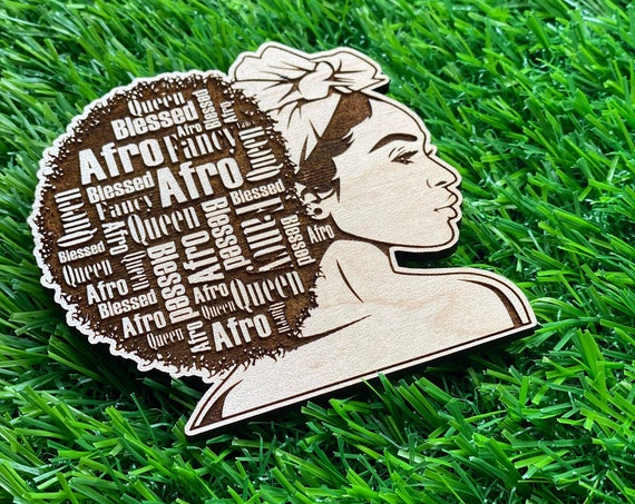 Black Girl Afro affirmation Pin | Wooden Pin Back Buttons