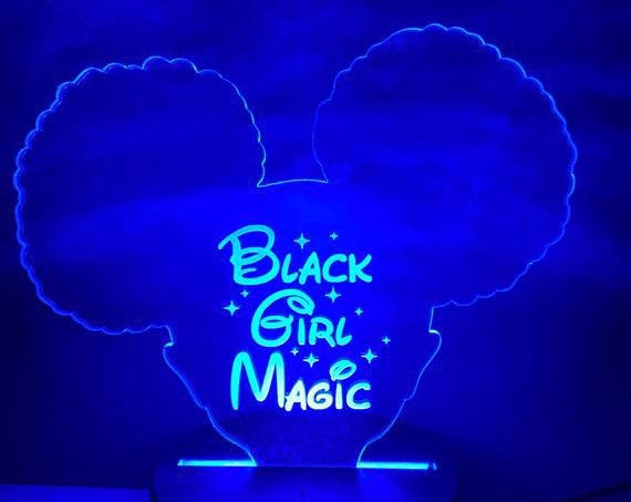 Black Girl Magic LED Night Light , Afro Puff Girl LED Night Light | acrylic Light - night light - custom - Personalized