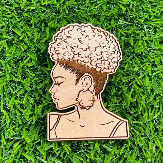 Black Woman with Afro Puff Pinback button| Wooden Pin Back Buttons