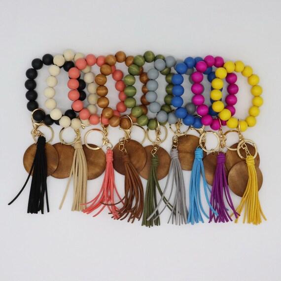 Laser Blanks, Wooden Beads Wristlet Tassel Keychain, Engravable Disk