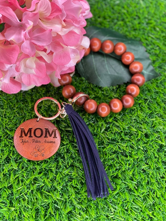Personalized Key Chain with Tassel- Bead Bracelet- Mother Daughter Bracelet- Birthday Gift- Mother's Day Gift