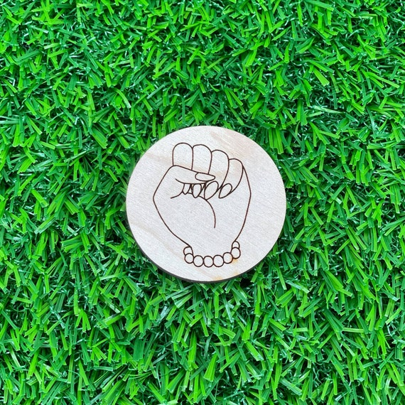 Woman's Power Fist Pin Back Button | Pro Black Buttons | Wood Engraved pinback buttons | Feminist | Black Girl Magic | Women's Rights