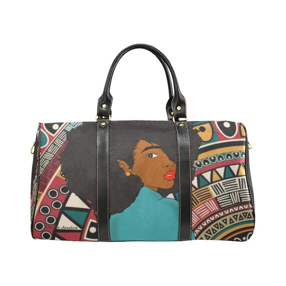 Afro Hair Travel Bag - Black Girl Magic Duffel Bag-The Queenin Collection