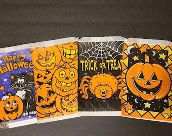 4 Vintage Halloween Treat Bags, Halloween Party, Paper Bags