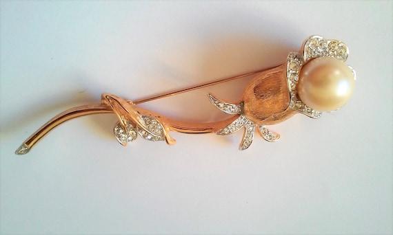 Sarah Coventry Flower Brooch Vintage Rhinestone B… - image 2