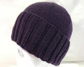 0409a9d34b1 Hand Knitted Purple Australian Merino Classic Knit Beanie