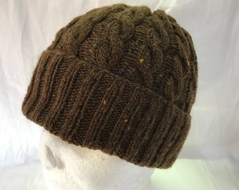 4aa1cce3a31 Hand Knitted Brown Merino Angora Silk Cable Pattern Beanie