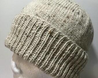Hand Knitted Cream Australian Merino Single Rib Classic Knit Beanie
