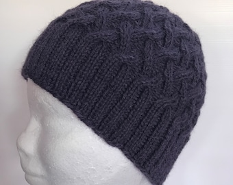 Hand Knitted Purple Alpaca Lattice Cabled Beanie