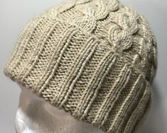 Hand Knitted Alpaca Merino Blend Cabled Beanie