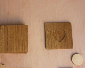 Heart Carve,  Elegant coasters, Handmade coasters - wood