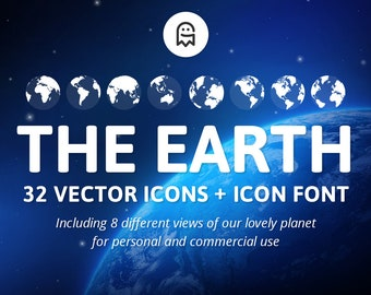 The Earth - Set of 32 Icons & Icon Font