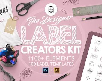 The Designer Label Creators Kit - 1100 label templates, 100 label templates and more for Photoshop & Illustrator