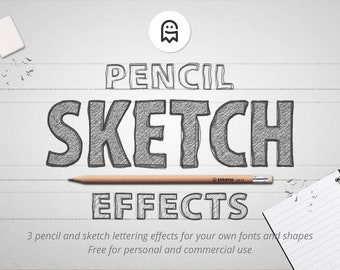Pencil Sketch Effects for Photoshop / Effects / Sketch Effect / Sketch Texture / Sketching / Scribble / Drawing / Pencil Texture