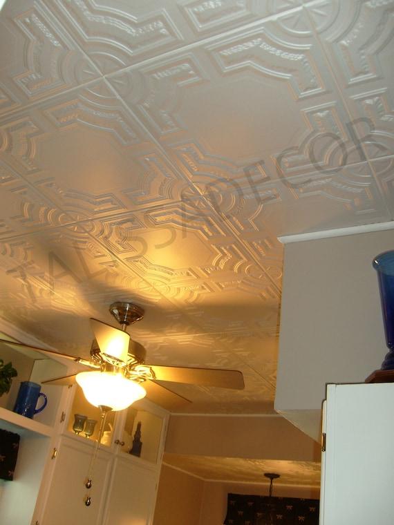 Styrofoam Ceiling Tiles Cover Popcorn Ceiling Easy Diy Installation Glue Up Over Popcorn Pack Of 8 White Polystyrene Decorative Tiles