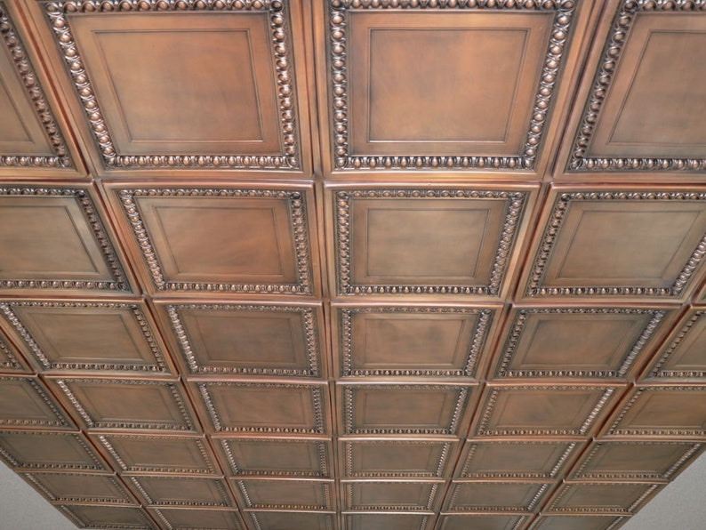Faux Tin Decorative Ceiling Tiles In Antique Copper 10 Pack Glue Up Or Drop In Into The Existing 2x2 Grid System Easy Diy Installation