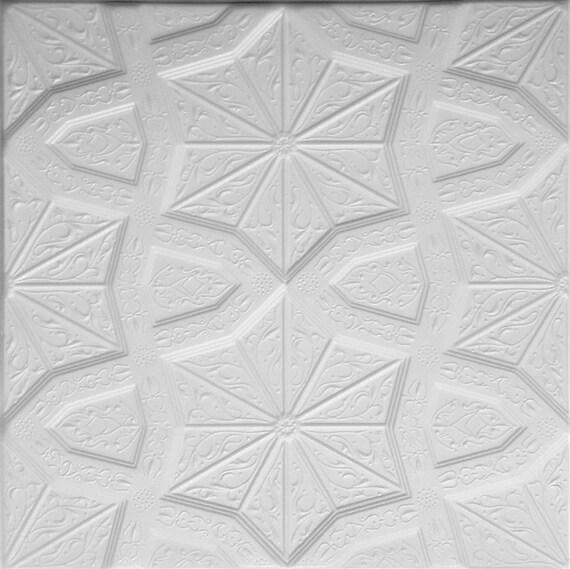Styrofoam Ceiling Tiles To Cover Popcorn Ceiling Easy Diy Installation Glue Up Over Popcorn Pack Of 8 White Polystyrene Decorative Tiles
