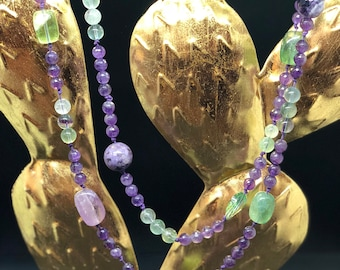 Long purple and green quartz necklace