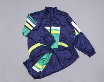 af982bd15 Adidas Vintage Logo Acid Multicolored Nylon Sport Suit Baggy Fit
