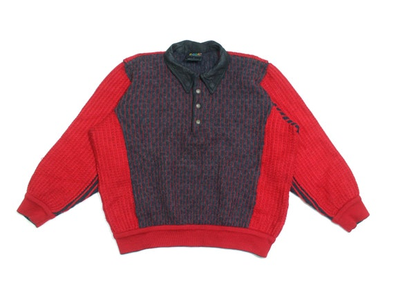 Coogi 90S Red Waffle Wool Sweater Vintage
