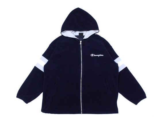 Champion 90S Logo Hooded Fleece Jacket Vintage