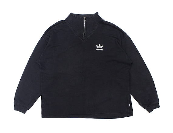 Adidas Vintage 90S Logo Washed Baggy Zip Sweatshir