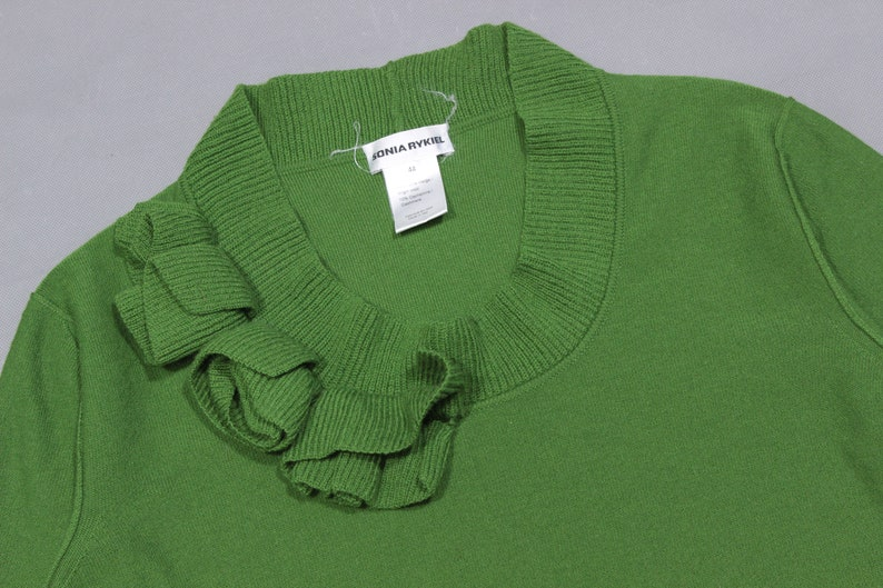 5b5db398c8 Sonia Rykiel RARE Green Flowers Wool and Cashmere Sweater Made | Etsy