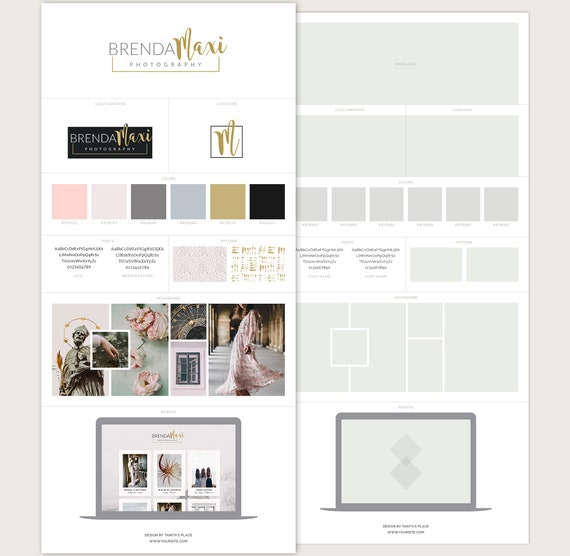 Brand Board Template Moodboard template Style Guide Template