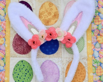 Floral Bunny Ears Headband (White or Pink)