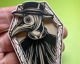 embroidered brooch plague doctor pin brooch brooch