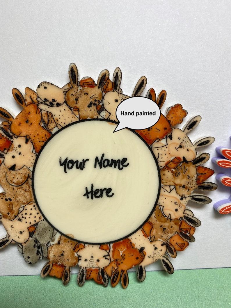 Bunnies Galore Name Brooch Custom piece
