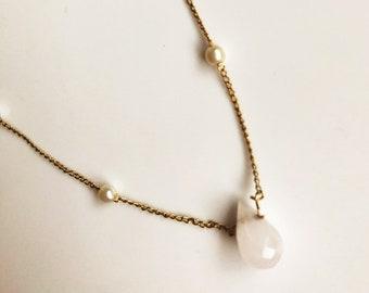 dainty 14k gold filled teardrop necklace