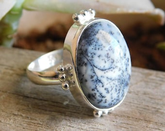 712 Ring Size|Sterling silver dendritic agate ring|agate ring|silver ring|white ring