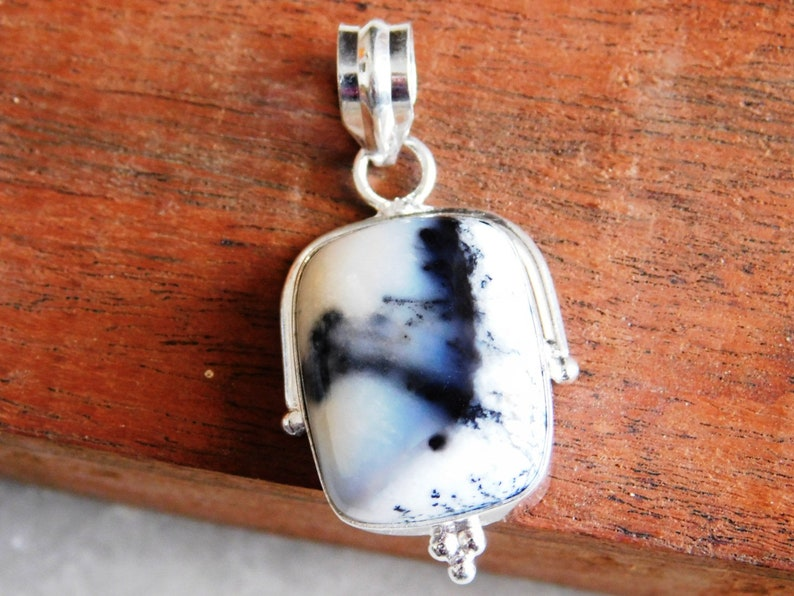 P-283 Dendrite Opal pendant jewelry, natural dendrite Sterling Silver pendant Dendritic Pendant gift for her Dendritic agate pendant