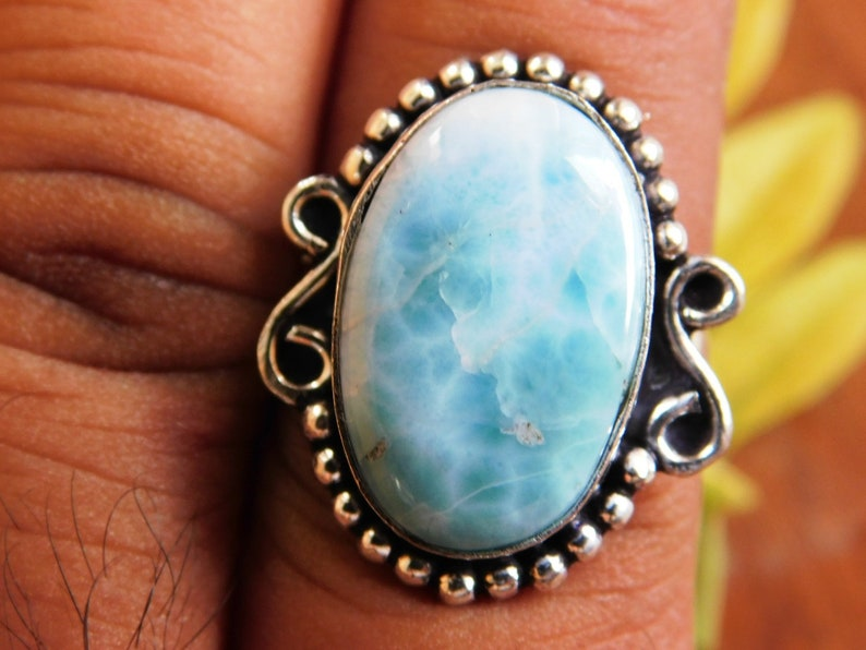 Larimar Ring gemstone ring,R176 men/'s ring,gift for her Larimar cabochon Ring,Larimar jewelry,Larimar gemstone Ring Sterling Silver ring