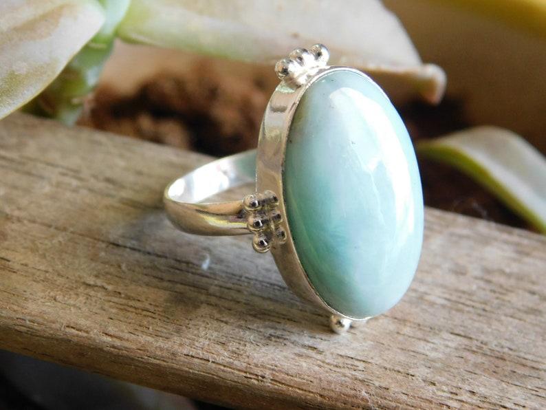 Larimar Ring* solid Sterling Silver ring* Larimar cabochon Ring* Larimar jewelry* Larimar gemstone Ring* men/'s ring* gift for her*rings*A382