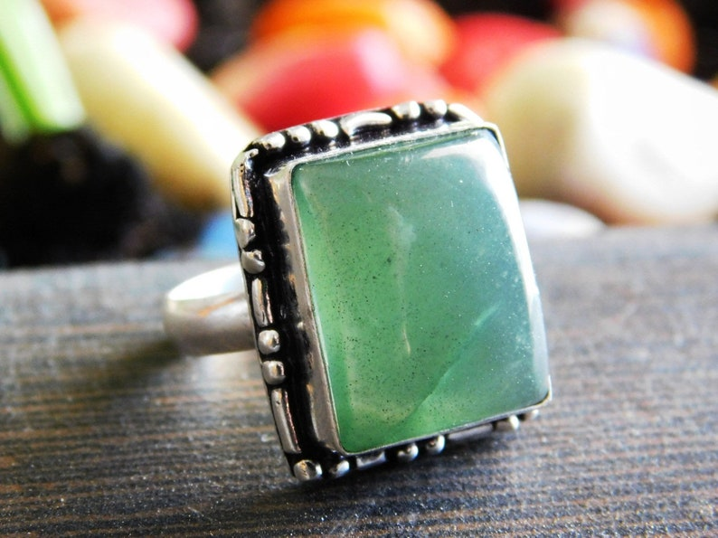 sterling silver ring Nephrite Jade ring gemstone ring,jewelry ring Nephrite Ring US size-7.5 Boho Ring,gift ring, R-910 handmade ring