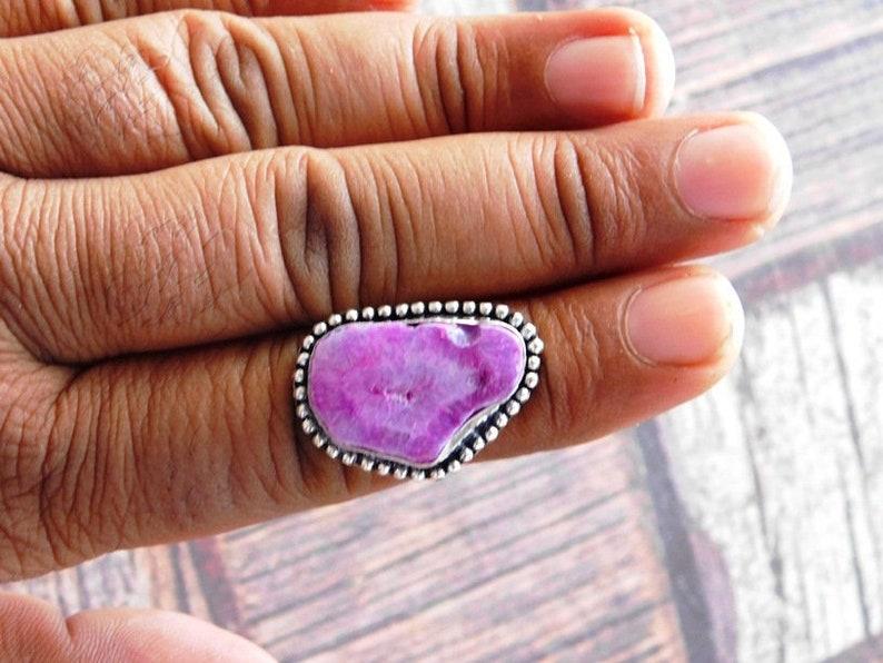 Druzy Ring Pink Druzy Agate ring Adjustable ring, Genuine Druzy Ring Raw Crystal Ring Sterling Silver Druzy Ring R-520