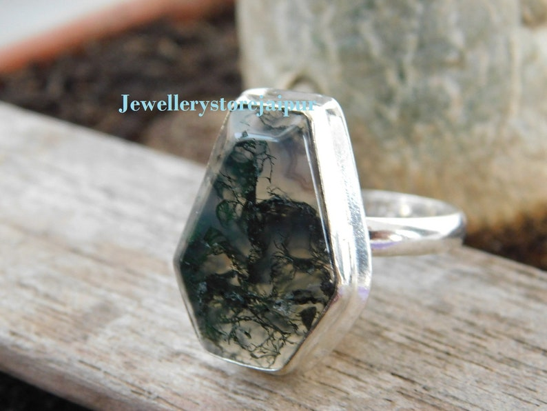 Green Coffin Ring* Moss agate Ring* Sterling Silver ring* handmade ring* Birthstone Ring* Statement Ring* coffin moss agate gemstone ring*