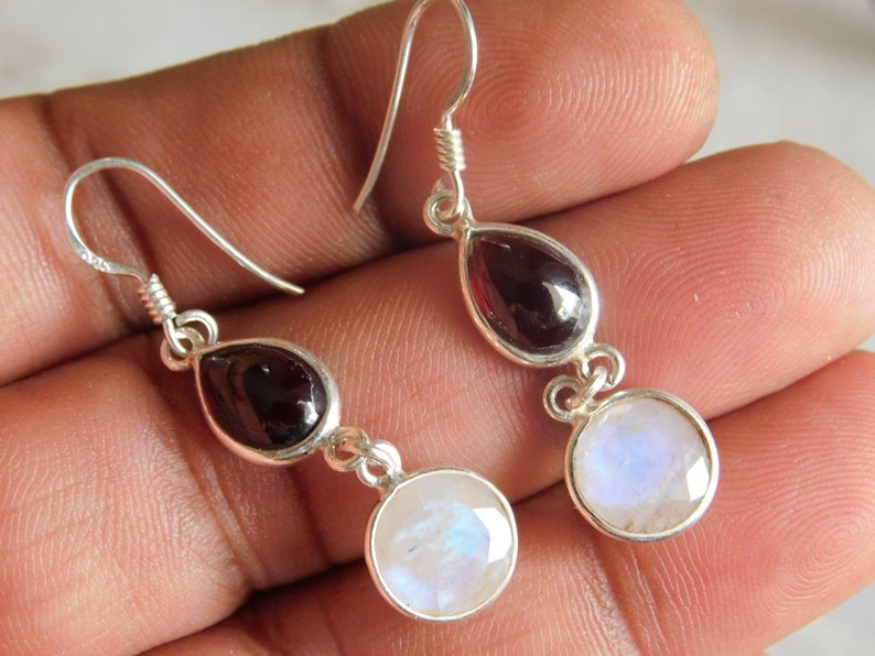 women/'s earring 925 sterling silver ring,Moonstone Earring,Birthstone gifts Moonstone with carnelian earring dangle earring,Boho Earring,