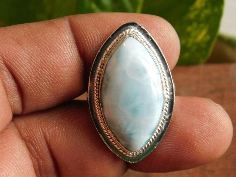 Blue Larimar Ring* 925 Sterling Silver ring* Larimar cabochon Ring*Larimar jewelry*Larimar gemstone Ring*men/'s ring*gifts*gemstone ring*A268